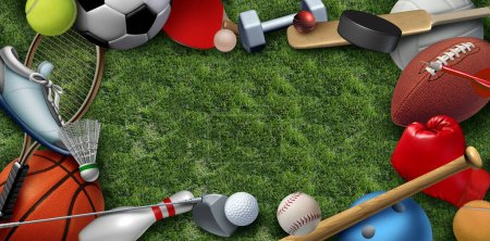 Recreation leisure sports equipment on grass with a football basketball baseball golf soccer tennis ball volleyball and badminton birdie as a symbol of healthy physical activity with 3D illustration elemrents.