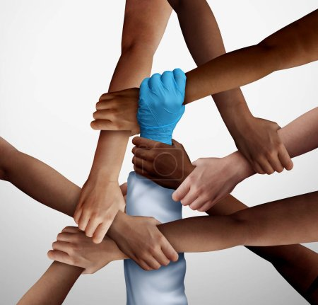 Medical help partnership and community essential worker support in a diverse society as a doctor or nurse hand holding patients in a 3D illustration style.