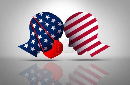 Photo pour Débat sur les masques américains et guerre politique contre les masques chirurgicaux en tant que conflit culturel américain : l'un portant une couverture faciale et une autre refusant de porter une protection contre le virus dans un style d'illustration 3D. - image libre de droit