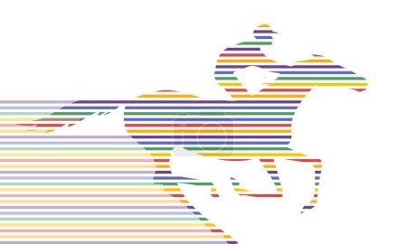 Ilustración de Silueta de jinete y caballo galopando movimiento en blanco. Carrera de caballos del vector y el jinete. Mano ilustración vectorial de dibujo a rayas de brillante colorido. - Imagen libre de derechos