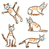 Funny red tabby cat set Wax crayon like child`s hand drawn cute kitten clip art Pastel chalk or pencil kids line art stroke sitting flying cats Vector artistic doodle simple pets