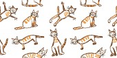 Funny red tabby cat seamless pattern Wax crayon like child`s hand drawn cute kitten clip art set Pastel chalk or pencil kids line art stroke sitting flying cats Vector artistic doodle simple pets