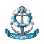 Coast guard day greeting card Nautical emblem