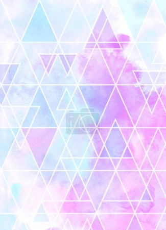 Photo for Abstract watercolor triangular background. Colorful pattern with triangle mosaic. - Royalty Free Image