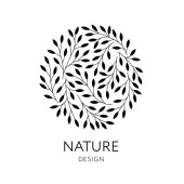 Elegant round emblem with tree branches Vector organic and natural logo design