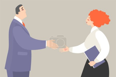 Illustration for Vector illustration of a man and woman getting ready to shake hands while making a deal. Scene of office life in cartoon style. - Royalty Free Image