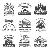 Labels set for travelers club Vector monochrome pictures