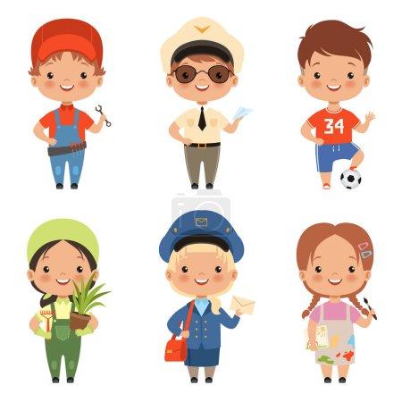 Photo pour Humour dessins animés enfants personnages de diverses professions. caractère profession enfant et enfants, garçon et fille. Illustration vectorielle - image libre de droit