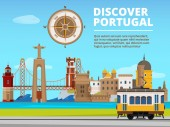 Urban landscape of lisabon portugal Culture objects set