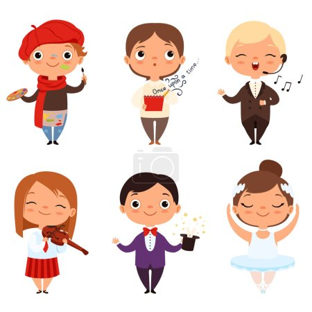 Photo for Cartoon illustrations of various creative kids. Different professions. Child artist, ballerina singer and magician vector - Royalty Free Image