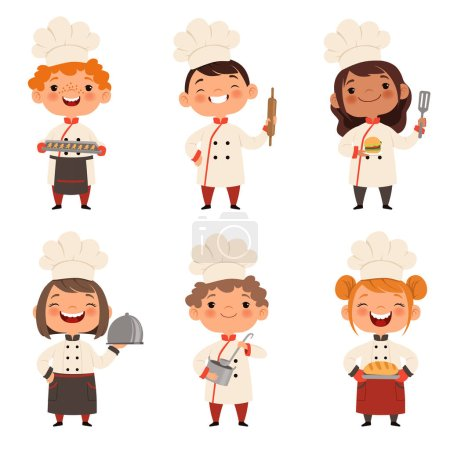 Photo for Characters set of children cooks. Cartoon mascots in various dynamic poses. People boy and girl chef in white hat, vector illustration - Royalty Free Image