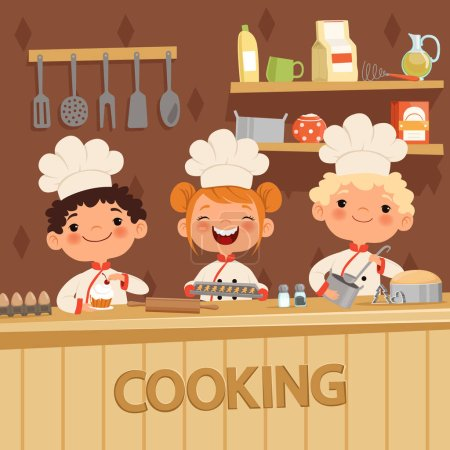Photo for Background illustrations of kids preparing food on the kitchen. Vector confectioner and baker, child in apron - Royalty Free Image