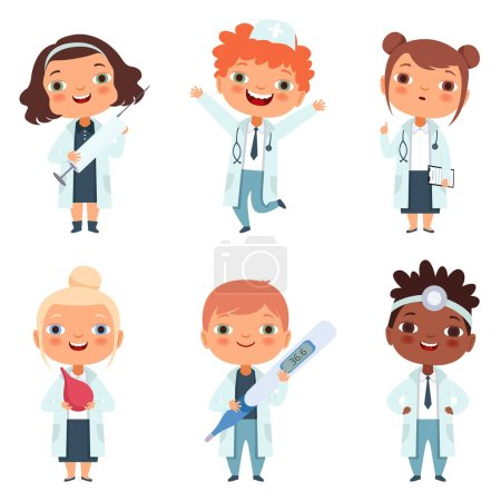 Photo for Doctor profession. Childrens in different poses. Cartoon doctors and nurse kids, vector illustration - Royalty Free Image