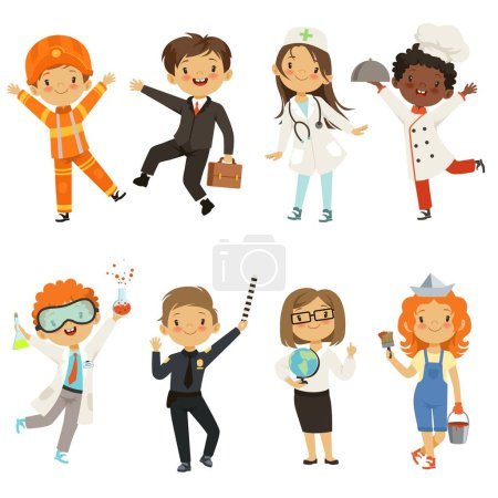 Photo for Young kids boys and girls of different professions. Policeman and painter, chemist male kid. Vector illustration - Royalty Free Image