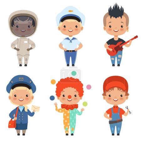 Photo pour Illustrations de dessins animés d'enfants de différentes professions. Vecteur facteur et marin, musicien et pêcheur - image libre de droit