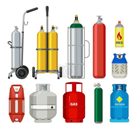 Gas cylinders. Butane helium acetylene propane metal tank cylinder petroleum station tools vector illustrations