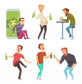 Alcoholic character Abuse and addicted man drugs and booze vector cartoon illustrations