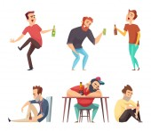 Addiction alcoholic Addict peoples alcoholism and drugs drinking person beer vodka whiskey abuse vector characters isolated