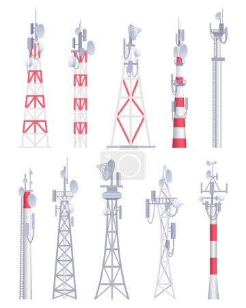 Communication tower. Cellular broadcasting tv wire...