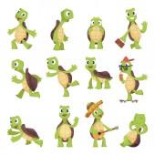 Cartoon turtles Happy funny animals running tortoise vector collection
