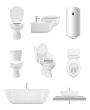 Des objets de toilettes. Lavabo douche toilettes vecteur collection réaliste