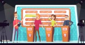 Quiz tv show Smart competition with three players answered question entertainment tournament television game vector background