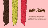 Cartoon hair braids thin line art illustration set of 3 different hair braids blonde brown hair redhead isolated on pink background vector eps 10