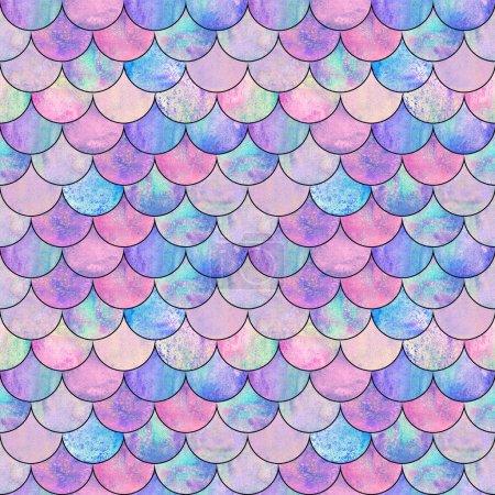 Meerjungfrau Fischschuppen Welle japanische Magie nahtlose Muster. Aquarell handgezeichnet heller, farbenfroher Hintergrund mit schwarzer Kontur. Aquarell schuppenförmige Textur. Druck für Textilien, Tapeten, Verpackungen.