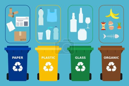 Illustration for Different colored recycle bins. Different waste suitable for recycling. Paper, plastic, glass and organic garbage. Segregate waste, sorting garbage, waste management.Blue background.Vector Flat style - Royalty Free Image