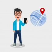 Young man holding phone using navigation Searching point on the map with location marker GPS geo tag navigational app electronic map concept Vector illustration flat style clip art