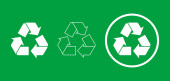Set of three white recycle signs on green background Different white recycle icons with full color outline and encircled Combinations of white recycle symbol Vector illustration flat clip art