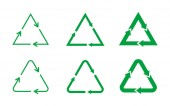 Triangular arrows sign set Set of green recycling symbols Triangle loop icon set on white background Different triangles representing circulation Design element Vector illustrationflatclip art
