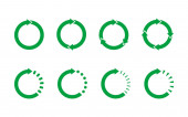 Set of 8 green circle arrows on white background Recycle symbol life cycle concept Loop rotation sign set Arrow heads representing circulation Circular arrows with tail effect Vector flat