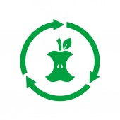 Organic waste Compostable sign icon symbol Apple core inside circle arrows Biodegradable product label Recycle food logo Compost recyclable concept Vector illustration flat style clip art