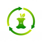 Compostable sign icon symbol Apple core inside circle arrows Biodegradable product label Organic waste Recycle food logo Compost recyclable concept Vector illustration flat style clip art