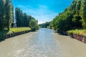 Dora Riparia in Turin, Italy. The Dora Riparia is an alpine river.