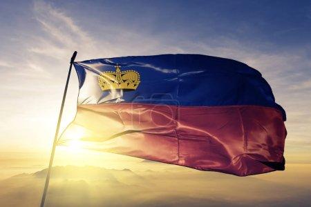 Liechtenstein national flag textile cloth fabric waving on the top