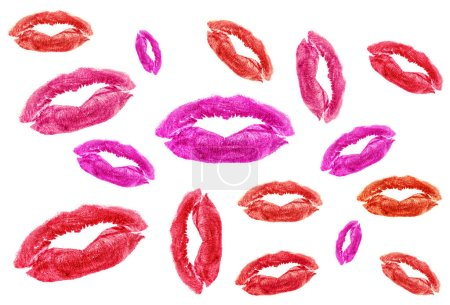 Set of different lipstick kisses on a white backgr...
