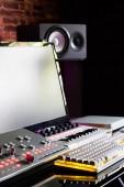 recording equipment in home studio, music production concept