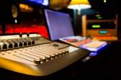 professional recording equipment in studio. music production concept background