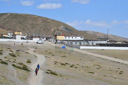 Dorchen, Tibet, China, June, 18, 2018.Tibetans left the city of Dorchen making parikrama around mount Kailas