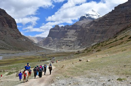 Dorchen, Tibet, China, June, 18, 2018. People with a horses making parikrama around Kailas in Tibet