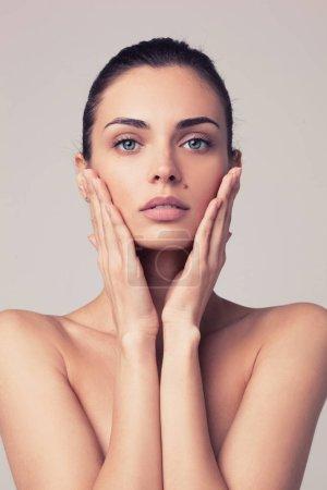 closeup portrait of beautyful woman with clean fresh skin