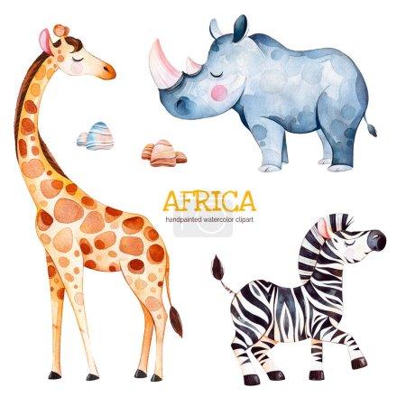Safari collection with giraffe, rhino and zebra, watercolor illustration