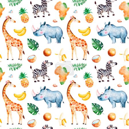 Africa watercolor seamless pattern with giraffe, rhino ,zebra, banana, fruits,  leaves, Africa continent