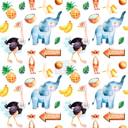 Africa watercolor seamless pattern. Safari collection with cute ostrich, meerkat, elephant and fruits