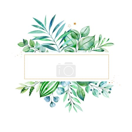 Photo for Watercolor frame border with green leaves - Royalty Free Image