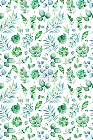 Watercolor leaves seamless pattern on white background.