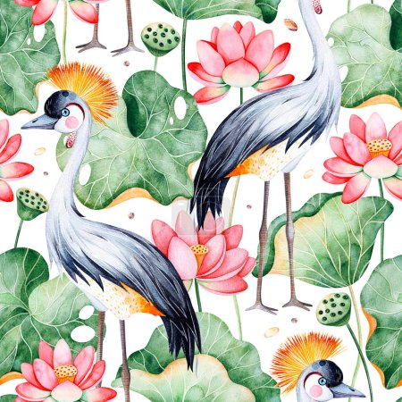 Lotus watercolor texture. Seamless pattern on white background with water lilies and black crowned crane.