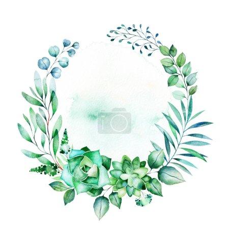 Photo pour Feuilles vertes cadre floral avec espace copie - image libre de droit